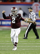 ATLANTA, GA - DECEMBER 31:  Quarterback Johnny Manziel #2 of the Texas A&M Aggies celebrates after a game clinching interception during the Chick-fil-A Bowl game against the Duke Blue Devils at the Georgia Dome on December 31, 2013 in Atlanta, Georgia.  (Photo by Mike Zarrilli/Getty Images)