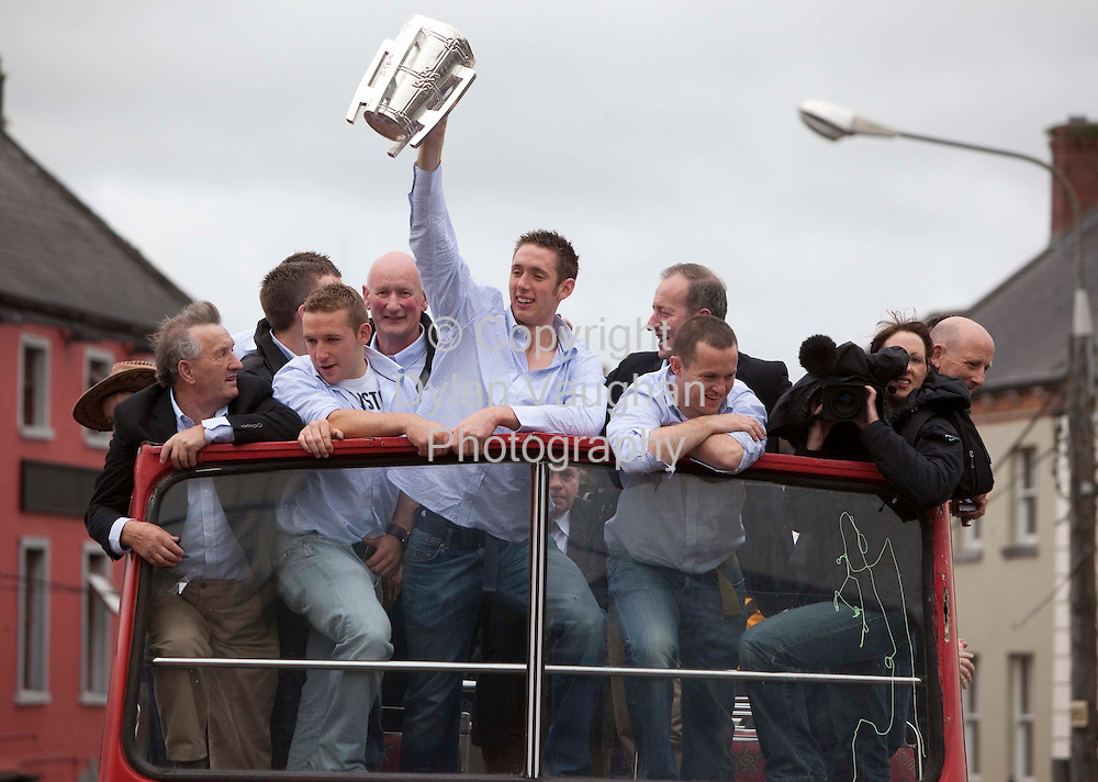 6/9/2009.Michael Fennelly with Richie Hogan and Brian Cody left and Michael Kavanagh right pictured at the Kilkenny All Ireland homecoming..Picture Dylan Vaughan.