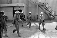 Coming up from underground at Markham Main Armthorpe Colliery. National Coal Board, Doncaster Area 21/06/1983.