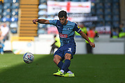 Wycombe Wanderers defender Joe Jacobson (3) gets in a cross during the EFL Sky Bet League 1 match between Wycombe Wanderers and Milton Keynes Dons at Adams Park, High Wycombe, England on 17 August 2019.
