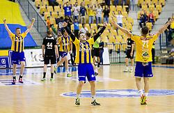 Blaz Blagotinsek of RK Celje PL, Miha Zarabec of RK Celje PL and Luka Zvizej of RK Celje PL celebrate after winning during handball match between RK Celje Pivovarna Lasko and RK Gorenje Velenje in 3rd Round of Final of 1st NLB League and Slovenian National Handball Championship 2014/15, on May 28, 2015 in Arena Zlatorog, Celje, Slovenia. RK Celje Pivovarna Lasko won 3rd time and became Slovenian National Champion 2015. Photo by Vid Ponikvar / Sportida