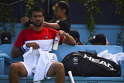 June 18, 2018 - London, England, United Kingdom - Marin Cilic of Croatia reacts during his men's singles match against Fernando Verdasco of Spain during Day One of the Fever-Tree Championships at Queens Club on June 18, 2018 in London, United Kingdom. (Credit Image: © Alberto Pezzali/NurPhoto via ZUMA Press)