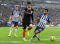 Football - 2019 / 2020 Premier League - Brighton & Hove Albion vs. Chelsea<br /> <br /> Mason Mount of Chelsea with Brighton's Adam Webster and Martin Montoya, at The Amex.<br /> <br /> COLORSPORT/ANDREW COWIE