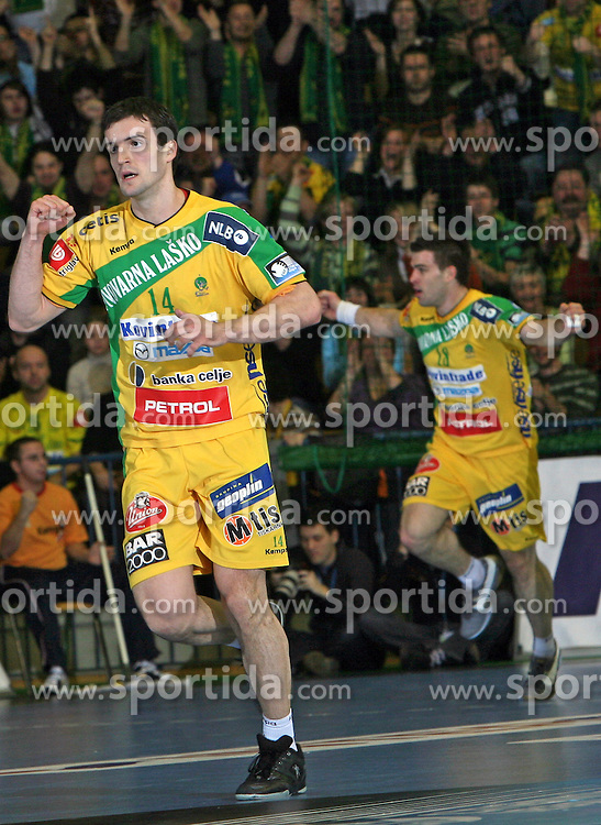 Srdjan Trivundza and Mihael Gorensek of Celje at handball match RK Celje Pivovarna Lasko vs FC Barcelona (ESP) 4th group of EHF Champions league Men, on March 1, 2008 in Celje, Slovenia. Win of Barcelona 27:32. (Photo by Vid Ponikvar / Sportal Images)