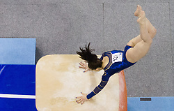 Tjasa Kysselef of Slovenia competes in the Vault during Final day 1 of Artistic Gymnastics World Cup Ljubljana, on April 27, 2013, in Hala Tivoli, Ljubljana, Slovenia. (Photo By Vid Ponikvar / Sportida.com)