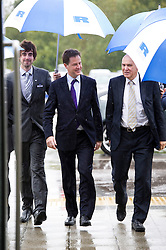 © London News Pictures. 23/09/2012. Brighton, UK.  Liberal Democrat Leader and Deputy Prime Minister, Nick Clegg and Liberal Democrat Business Secretary, Vince Cable arriving at Ricardo Shoreham Technical Centre in Shoreham-by-Sea on September 24, 2012. Photo credit : Ben Cawthra/LNP.