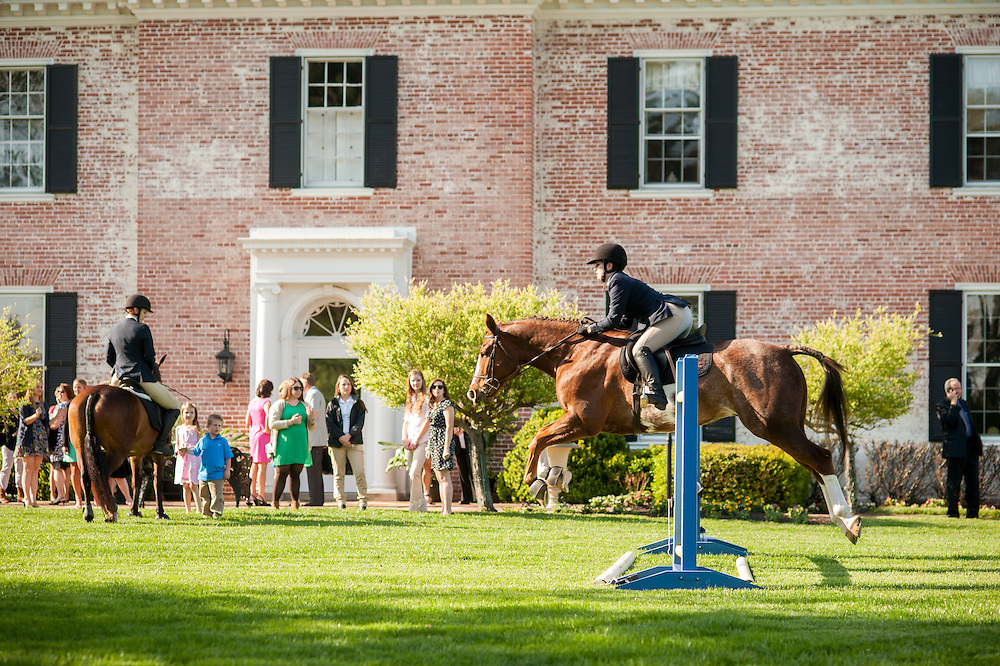 Horse jumping a hurdle in Baltimore County, MD USA