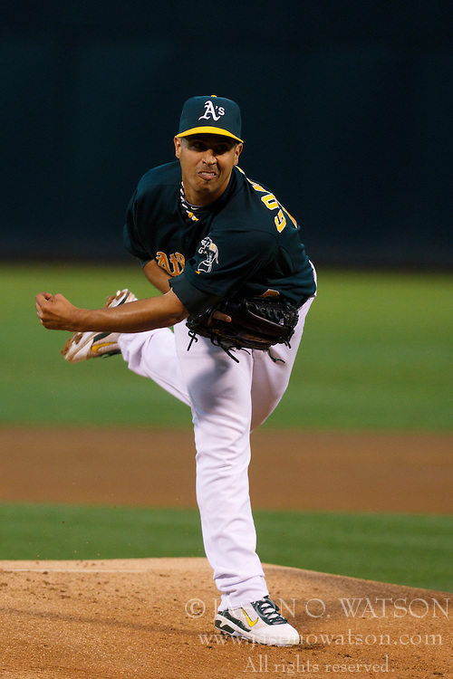 June 28, 2011; Oakland, CA, USA; Oakland Athletics starting pitcher Gio Gonzalez (47) pitches against the Florida Marlins during the first inning at the O.co Coliseum.