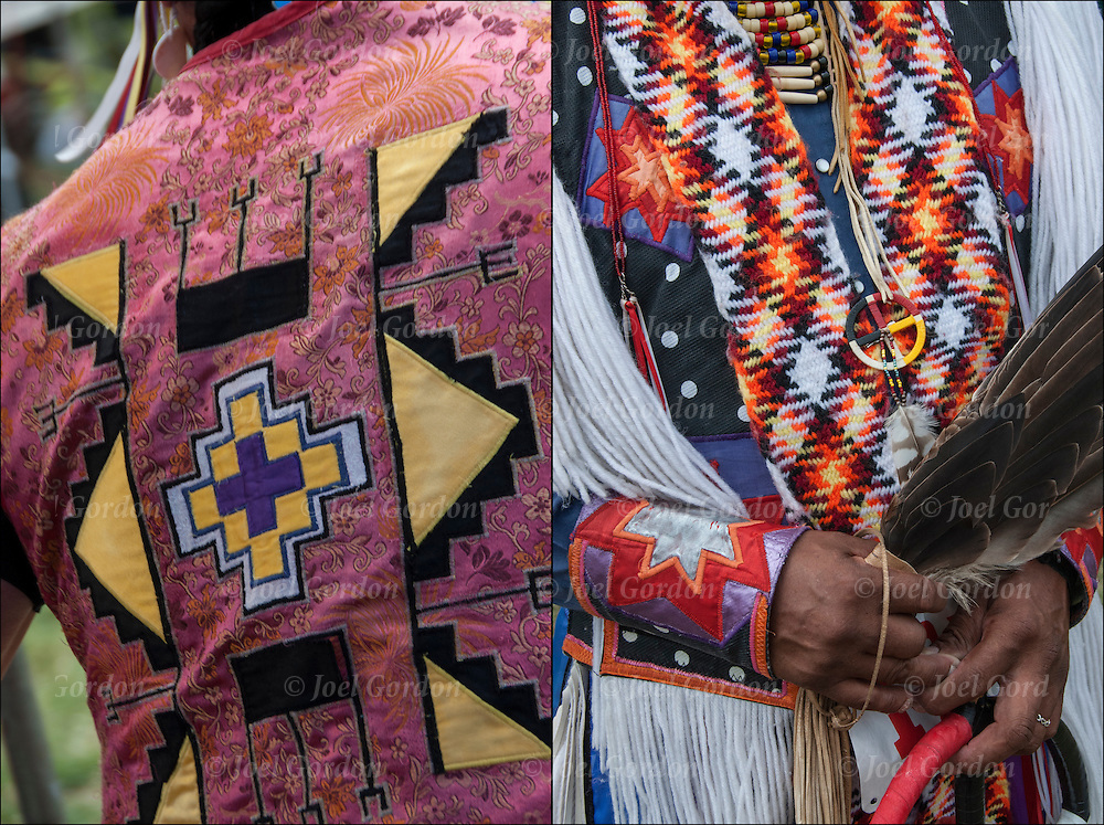 Close up of Native American Pow Wow Regalia. Examples of ethnic pride, heritage and traditional folk art crafts.<br /> <br /> Pow Wow Regalia - GOR -100141-14<br /> Pow Wow Regalia - GOR -100135-14