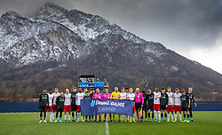 GRÖDIG, AUSTRIA - Tuesday, December 10, 2019: Liverpool and FC Salzburg players line-up for an Equal Game UEFA respect group photograph before the final UEFA Youth League Group E match between FC Salzburg and Liverpool FC at the Untersberg-Arena. (Pic by David Rawcliffe/Propaganda)
