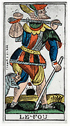 Tarot card of The Fool - Jergot Tarot, 17th century. Tarot pack of 22 cards was used in fortune telling.