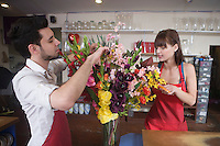 Floriste work on flower arrangement
