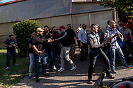ROME, ITALY - SEPTEMBER 13: Casapound's extreme right-wing militants (pictured) clash with the anti-fascists in front of the Fourth Town Hall, where was decide the future of the Centre for migrants transiting 'FRANTOIO' run by the Red Cross to the District Tiburtino IV.  on September 13, 2017 in Rome, Italy. (Photo by Stefano Montesi)