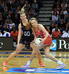 England's Helen Housby, left, under pressure from New Zealand's Katrina Grant in the Taini Jamison Trophy netball series match at Te Rauparaha Arena, Porirua, New Zealand, Thursday, September 07, 2017. Credit:SNPA / Ross Setford  **NO ARCHIVING**
