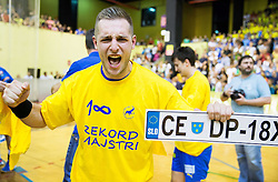 Gasper Marguc of Celje PL celebrates after winning during handball match between RK Gorenje Velenje and RK Celje Pivovarna Lasko in Final match of 1st NLB League - Slovenian Championship 2013/14 on May 23, 2014 in Rdeca dvorana, Velenje, Slovenia. RK Celje Pivovarna Lasko became 18-times Slovenian National Champion. Photo by Vid Ponikvar / Sportida
