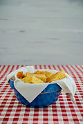 Photograph of Corn bread in Vintage Blue bowl by Kathryn Elsesser for the Little House Cookbook.