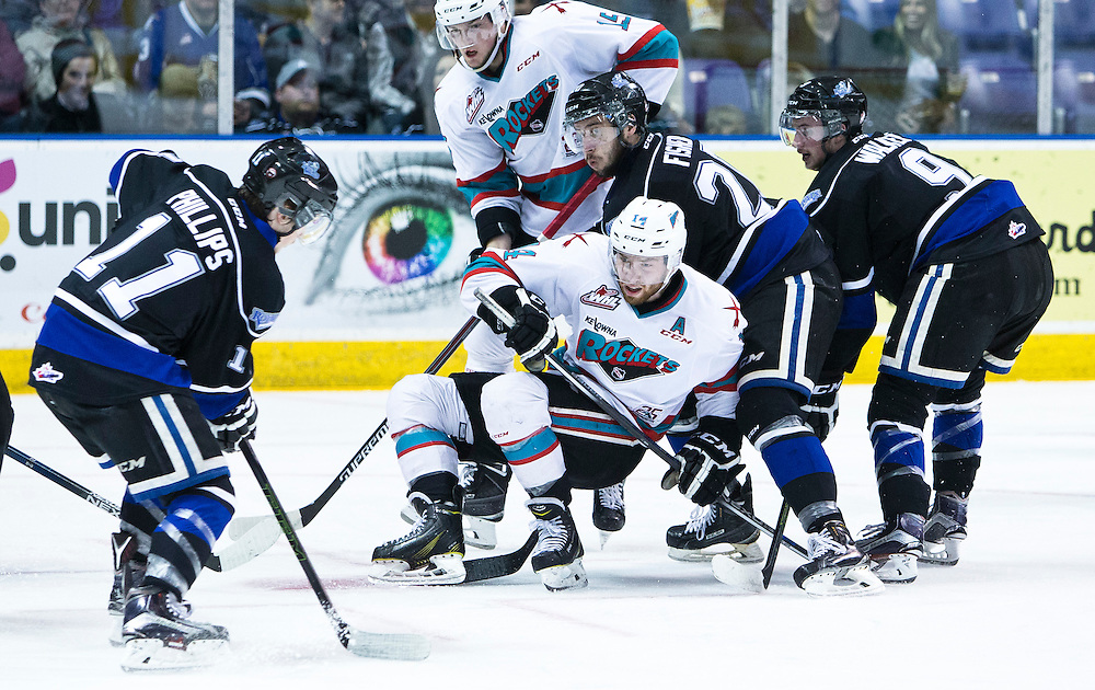 Victoria Royals play the Kelowna Rockets in game 5 of their best of seven Western Hockey League playoff series at the Save-on-Foods Memorial Centre in Victoria, B.C., Canada on Friday, April 15th 2016. The Rockets beat the Royals 4-1 taking a 3-2 series lead.
