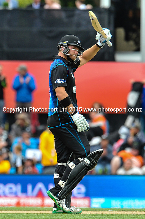 Corey Anderson of the Black Caps during the ICC Cricket World Cup match between New Zealand and Sri Lanka at Hagley Oval in Christchurch, New Zealand. Saturday 14 February 2015. Copyright Photo: John Davidson / www.Photosport.co.nz
