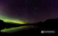 Aurora borealis over St Mary Lake in Glacier National Park, Montana, USA