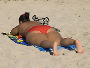 Obese sunbather lying on beach Miami USA