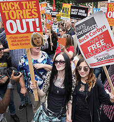 © Licensed to London News Pictures. 01/07/2017. London, UK. Protestors on the People's Assembly anti-austerity demonstration pass Downing Street. Photo credit: Peter Macdiarmid/LNP