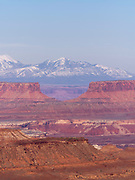 Image from Panorama Point, a beautiful, scenic, remote location in the Maze District of Canyonlands National Park, Wayne County, Utah, USA, with the La Sal Mountains in the distance.