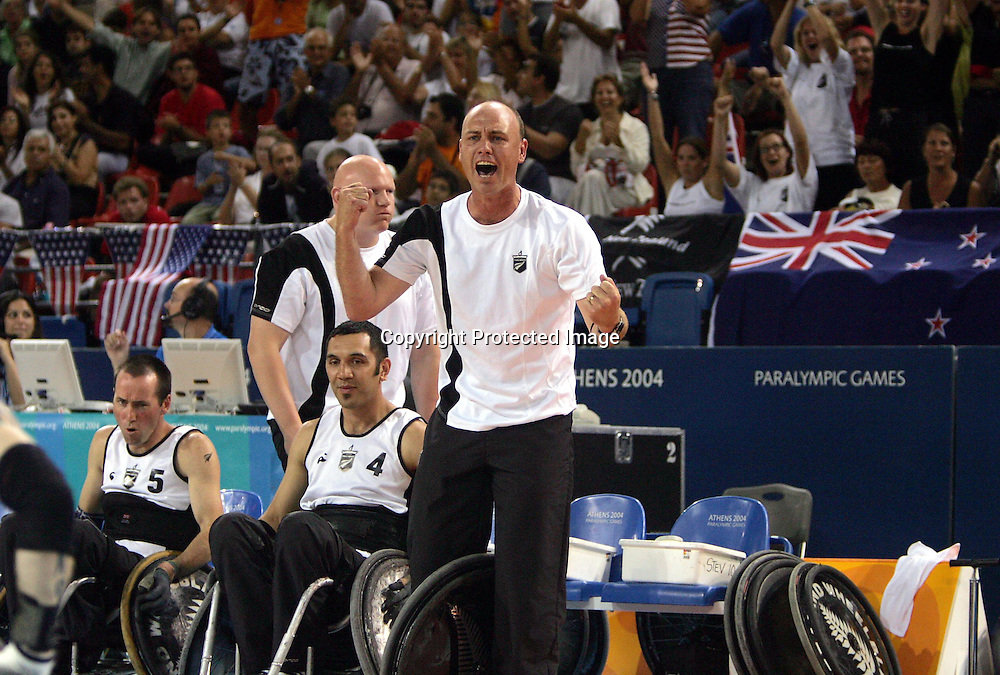 Phil Washbourn during the Wheelchair Rugby match between New Zealand a nd Canada at the Indoor Olympic Arena, Athens, Greece on Saturday 25 September, 2004. The Wheelblacks won the match, 31 - 29 to win gold.<br />