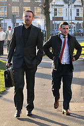 Licensed to London News Pictures. 16.01.2012. Southampton. UK. DANNY CARE (R) arrives at court today.  England scrum-half Danny Care has been fined a total of £3,100 and banned from driving for 16 months today after pleading guilty to drink-driving in the early hours of New Year's Day.Photo credit: Christopher Gretkus/LNP Licensed to London News Pictures. .