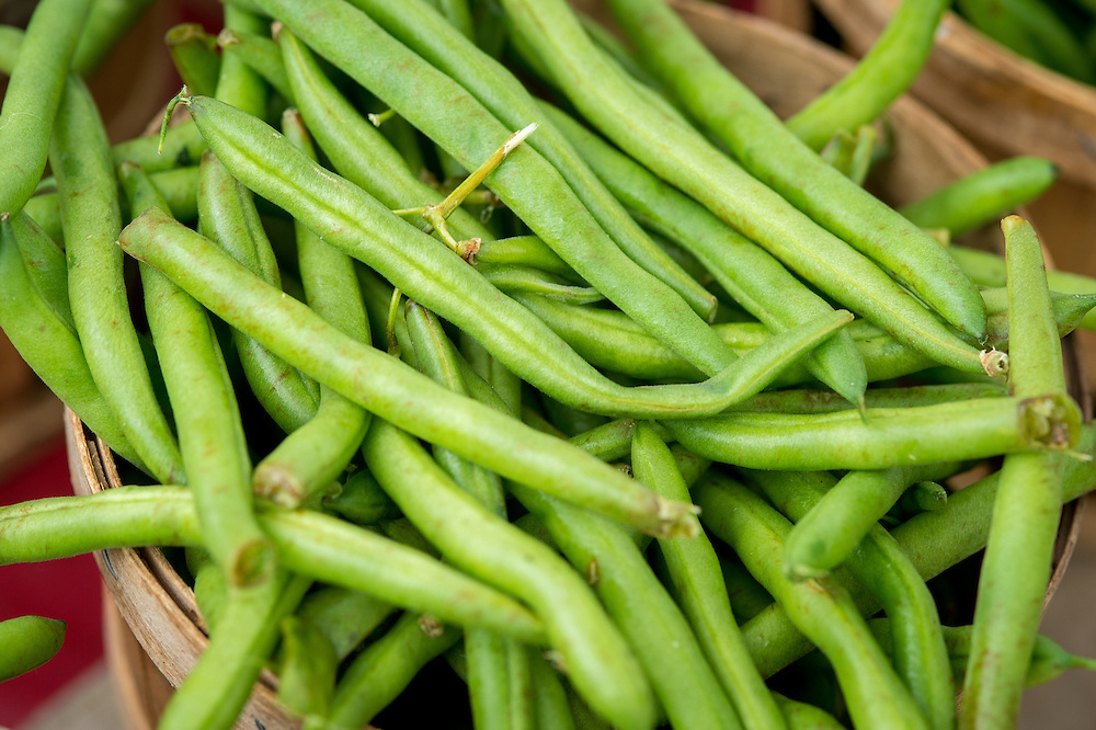 String beans for sale at a Farmers Market