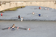 Boston, USA, Crews moving to the start on the Boston side. Head of the Charles, Race Charles River,  Cambridge,  Massachusetts. Saturday  20/10/2007  [Mandatory Credit Peter Spurrier/Intersport Images]..... , Rowing Course; Charles River. Boston. USA