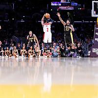 21 March 2014: Washington Wizards guard John Wall (2) takes a jumpshot over Los Angeles Lakers forward Jordan Hill (27) during the Washington Wizards 117-107 victory over the Los Angeles Lakers at the Staples Center, Los Angeles, California, USA.