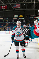 KELOWNA, CANADA - SEPTEMBER 2: Center Kyle Topping #24 of the Kelowna Rockets celebrates a second period goal against the Victoria Royals on September 2, 2017 at Prospera Place in Kelowna, British Columbia, Canada.  (Photo by Marissa Baecker/Shoot the Breeze)  *** Local Caption ***