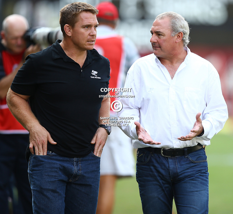 DURBAN, SOUTH AFRICA - APRIL 04: John Smit (Chief executive officer) of the Cell C Sharks with Gary Gold (Sharks Director of Rugby) during the Super Rugby match between Cell C Sharks and Crusaders at Growthpoint Kings Park on April 04, 2015 in Durban, South Africa. (Photo by Steve Haag/Gallo Images)