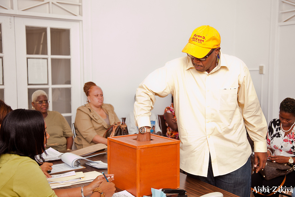 Myron D. Jackson pulls #21 for Office of Senate, St. Thomas/St. John.  Casting of Lots for the Primary Election of September 8, 2012.  Election Sytem of the Virgin Islands.  21 August 2012.  © Aisha-Zakiya Boyd
