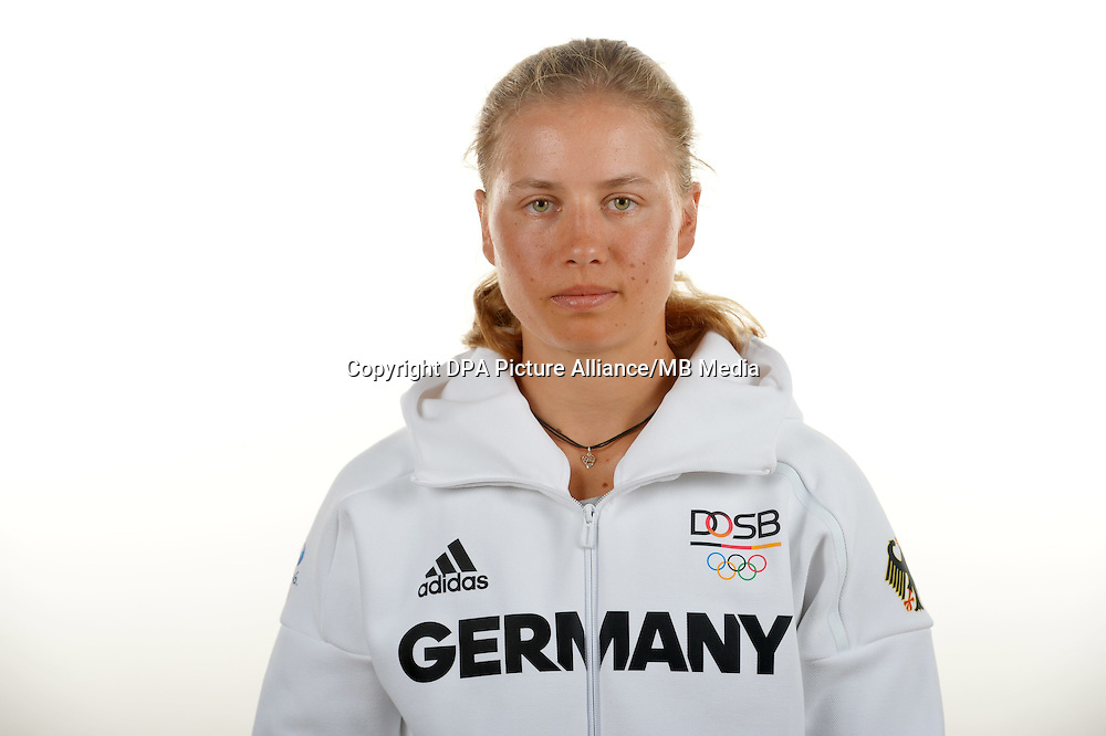 Ronja Fini Sturm poses at a photocall during the preparations for the Olympic Games in Rio at the Emmich Cambrai Barracks in Hanover, Germany. July 08, 2016. Photo credit: Frank May/ picture alliance. | usage worldwide