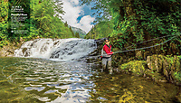 Double page spread in April 2019 issue of Alaska Magazine of fly fishing in Sitka, Alaska USA.