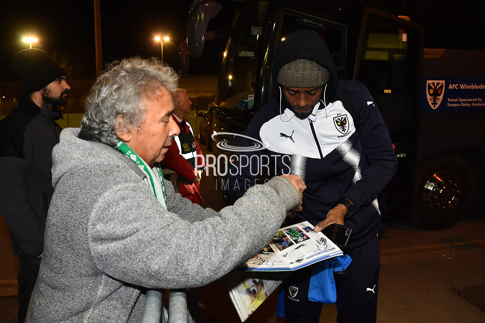Jimmy Abdou (8) of AFC Wimbledon arriving at Huish Park before the EFL Trophy match between Yeovil Town and AFC Wimbledon at Huish Park, Yeovil, England on 5 December 2017. Photo by Graham Hunt.