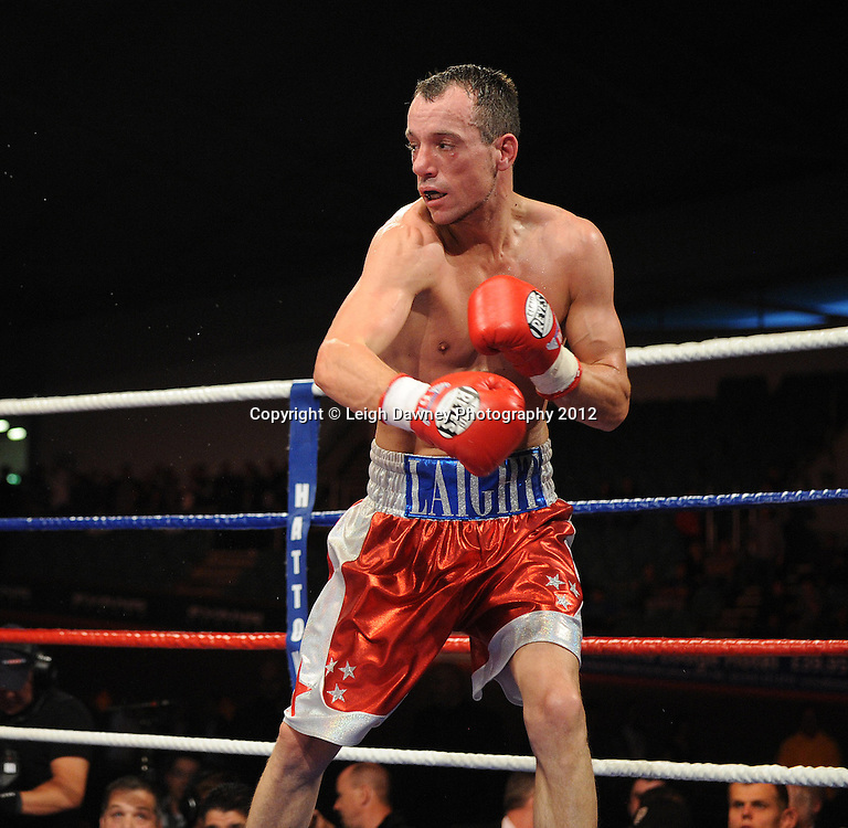 Scott Jenkins defeats Kristian Laight (pictured) in a Lightweight contest at the Velodrome, Manchester on the 16.06.12. Hatton Promotions. ©Leigh Dawney Photography 2012.