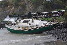 Christchurch-Storm grounds yacht on beach, Cass Bay