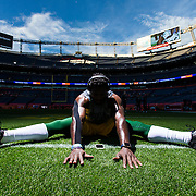 Green Bay Packers inside linebacker Nate Palmer (51) stretches before the NFL regular season game against the Denver Broncos on Sunday, Nov. 1, 2015 in Denver. The Broncos won, 29-10. (Ric Tapia via AP)