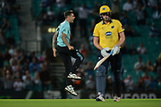 Jade Dernbach of Surrey celebrates the wicket of Dominic Sibley during the NatWest T20 Blast South Group match between Surrey County Cricket Club and Warwickshire County Cricket Club at the Kia Oval, Kennington, United Kingdom on 25 August 2017. Photo by Dave Vokes.