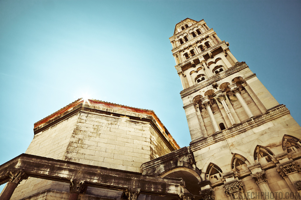 A view of the Diocletian mausoleum and bell tower of the Cathedral of St. Duje (St. Doimus) in Split, Croatia.<br /> <br /> + ART PRINTS +<br /> To order prints or cards of this image, visit:<br /> http://greg-stechishin.artistwebsites.com/featured/cathedral-of-st-duje-greg-stechishin.html