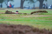 Trevor Immelman of South Africa sizing up a bunker shot during the British Masters 2018 at Walton Heath Golf Course, Walton On the Hill, Surrey on 14 October 2018. Picture by Martin Cole.