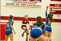 Laconia versus Gilford girls varsity volleyball.  Karen Bobotas for the Laconia Daily Sun