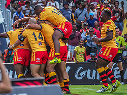Handout photo dated 28/10/17 provided by NRL Photos of Papua New Guinea players celebrate a try during the Rugby League World Cup, Pool C match at the Oil Search National Football Stadium, Port Moresby.