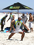 Camps Bay, Junior Leoto of Samoa celebrates scoring a try during the Oasis SKW Camps Bay Beach Touch Rugby Tournament held on the 2 February 2008, Cape Town, South Africa...Image © Sportzpics
