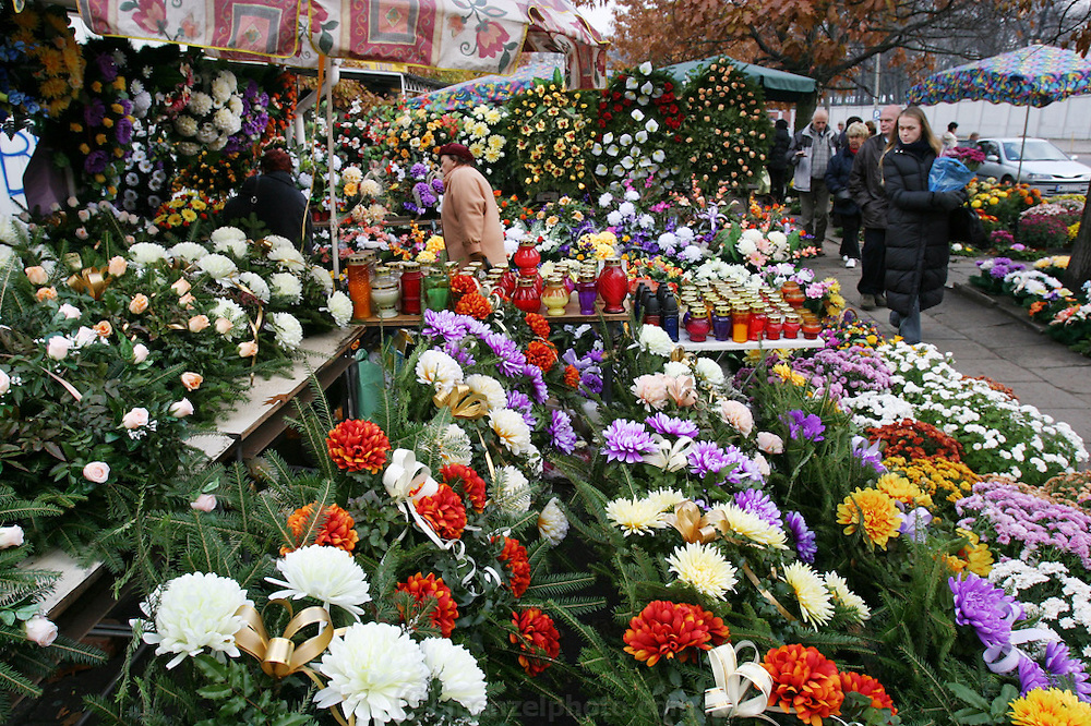 Lodz, Poland cemetery on All Saints Day.