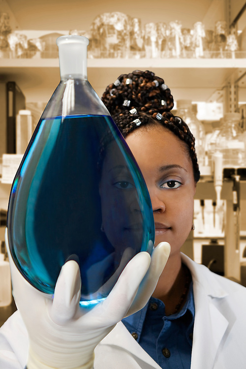 A scientist holds up a large round bottom flask filled with blue media and looks through it.
