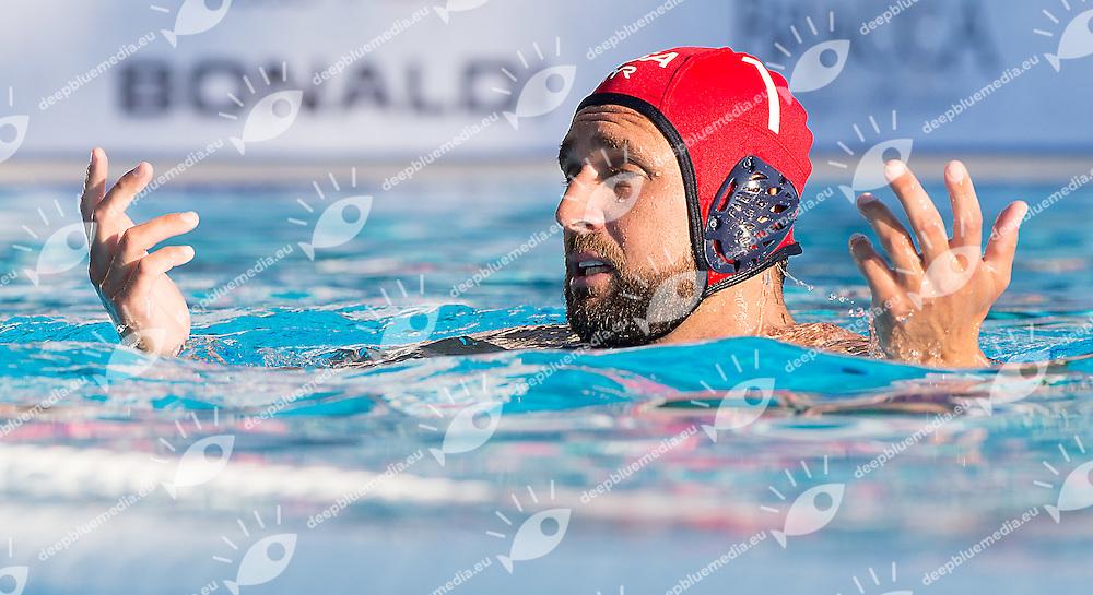 1 MERRILL Moses USA<br /> Australia AUS (white) - United States USA (blue)<br /> day 02 - 24/06/2015<br /> FINA Water Polo World League Superfinal Men<br /> Bergamo (ITA) 23-28 June 2015<br /> Photo G.Scala/Deepbluemedia
