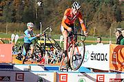 CZECH REPUBLIC / TABOR / WORLD CUP / CYCLING / WIELRENNEN / CYCLISME / CYCLOCROSS / VELDRIJDEN / WERELDBEKER / WORLD CUP / COUPE DU MONDE / #2 / U23 / (L-R) GIANNI VERMEERSCH (BEL) / MATHIEU VAN DER POEL (NED) /